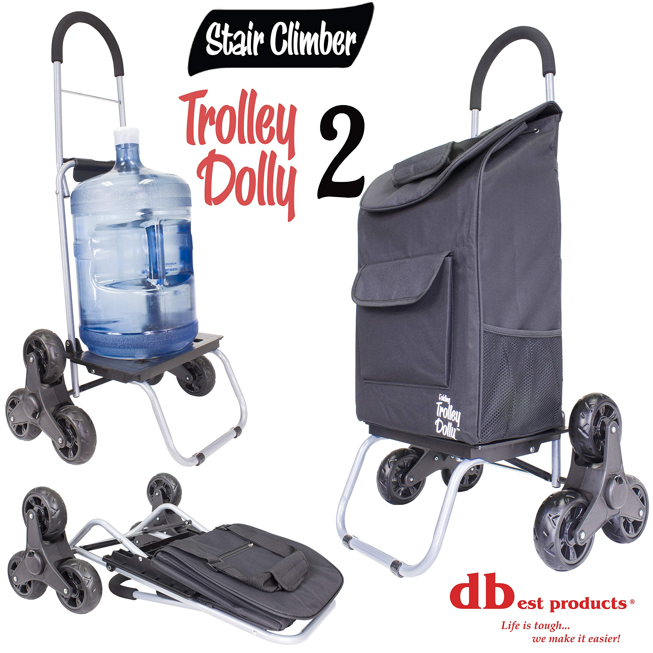 Stair Climber Trolley Dolly 2, Black Grocery Foldable Cart Condo Apartment