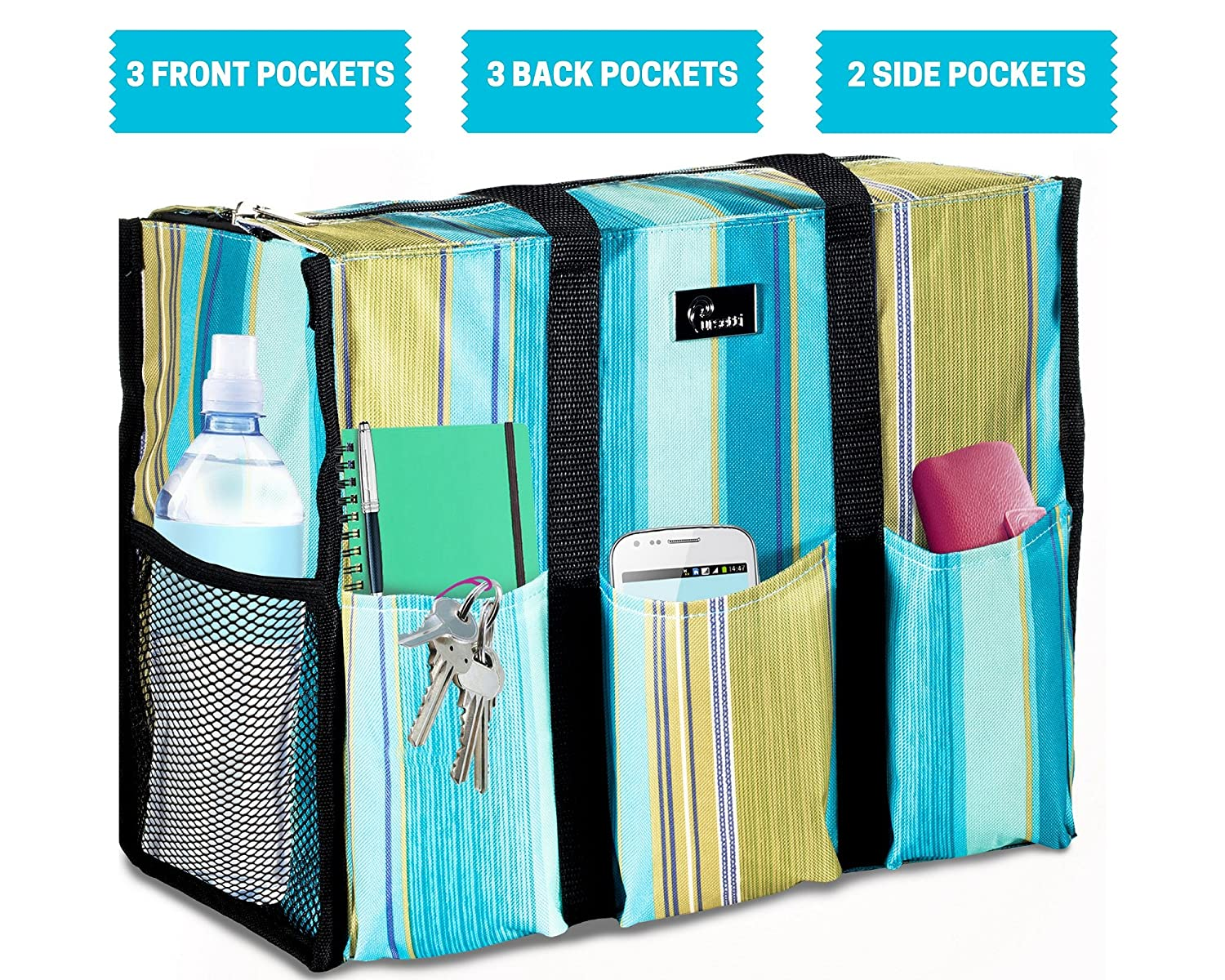9a90e5f60449 Pursetti Zip-Top Organizing Utility Tote Bag with Multiple Exterior    Interior  Pockets for