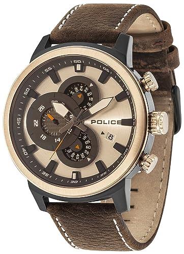 Police Reloj Multiesfera para Hombre de Cuarzo con Correa en Cuero PL15037JSBR.04: Amazon.es: Relojes
