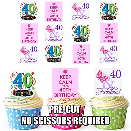 AK Giftshop Fun Female 40th Birthday 12 Cup Cake Toppers Edible