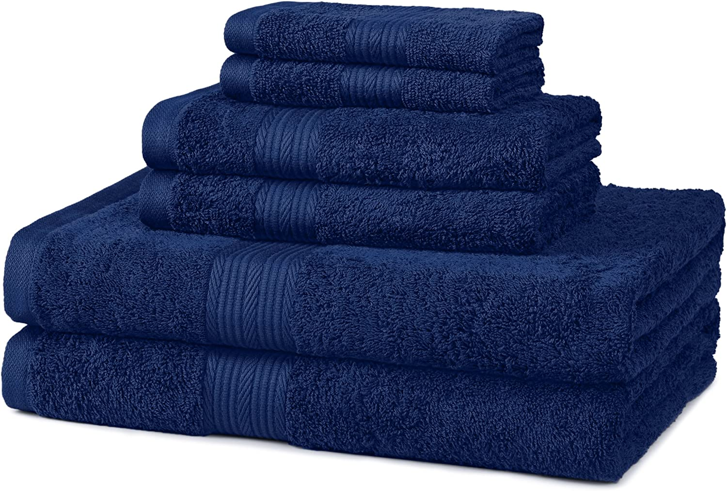 Basics 6-Piece Fade-Resistant Bath Towel Set - Navy Blue: Home & Kitchen