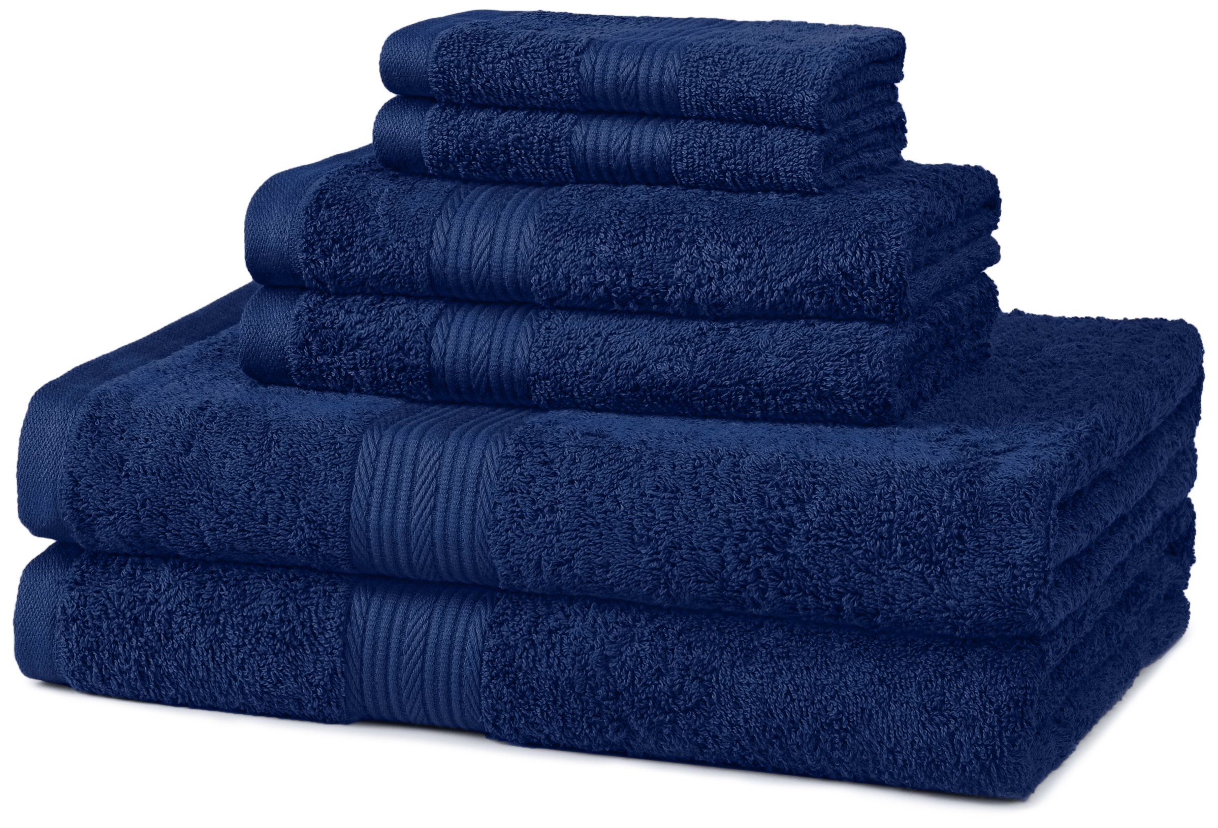 AmazonBasics 6-Piece Fade-Resistant Bath Towel Set - Navy Blue by AmazonBasics
