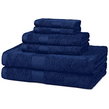 AmazonBasics Fade-Resistant 6-Piece Cotton Towel Set, Navy Blue