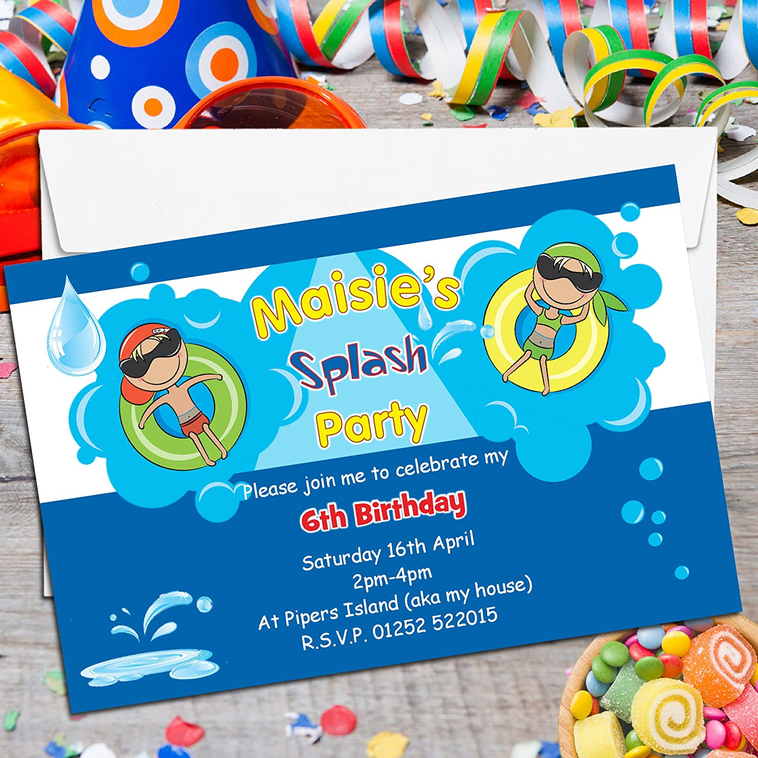 10 Personalised Girls Boys Swimming Pool Birthday Party Invitations ...