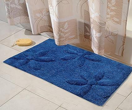 Tex N Craft Premium Cotton Anti-Skid Coating Bath Mat - Blue