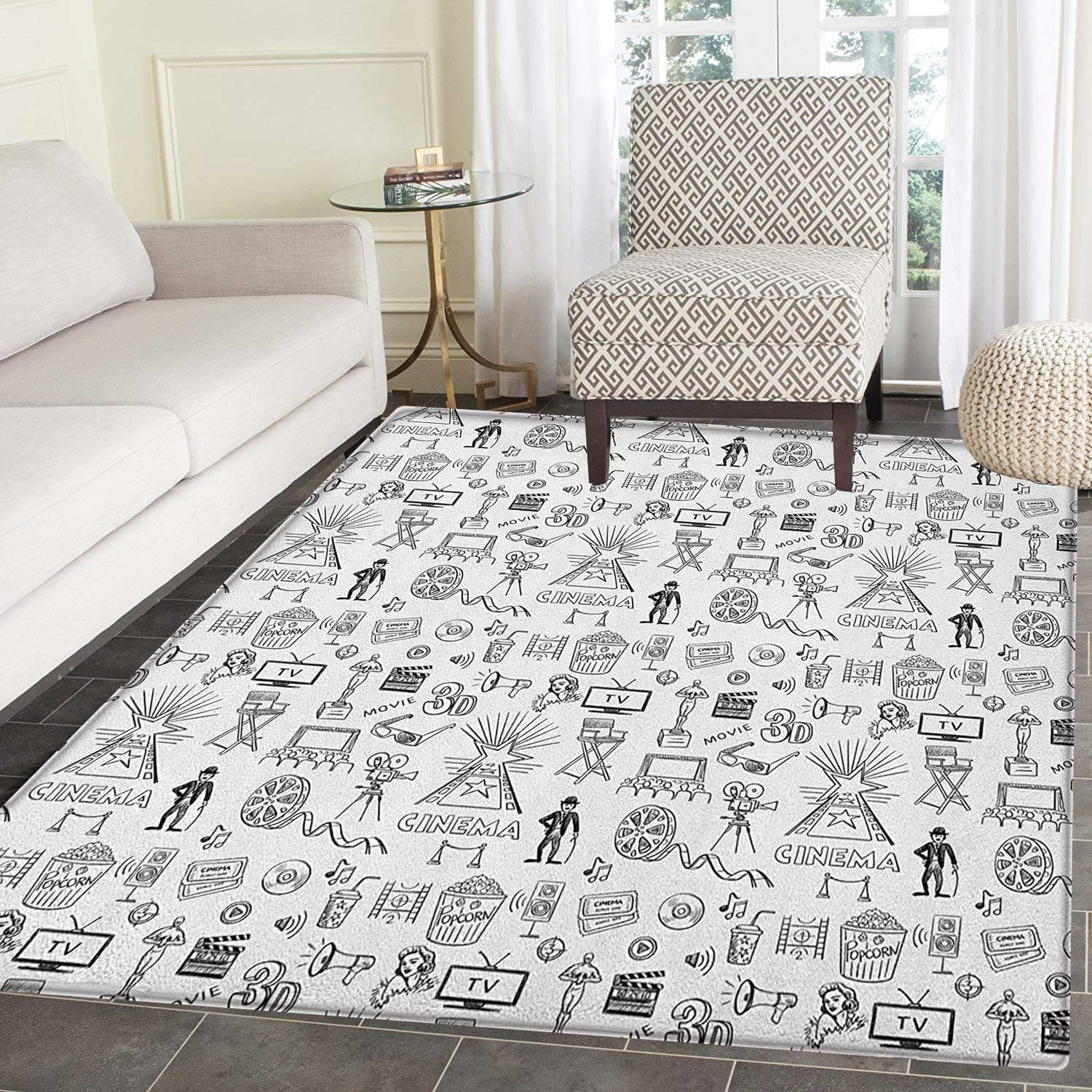 Amazon Com Movie Theater Area Rug Carpet Hand Drawn Style Cinema Pattern With Various Different Icons Black And White Living Dining Room Bedroom Hallway Office Carpet 5 X6 Black White Kitchen Dining