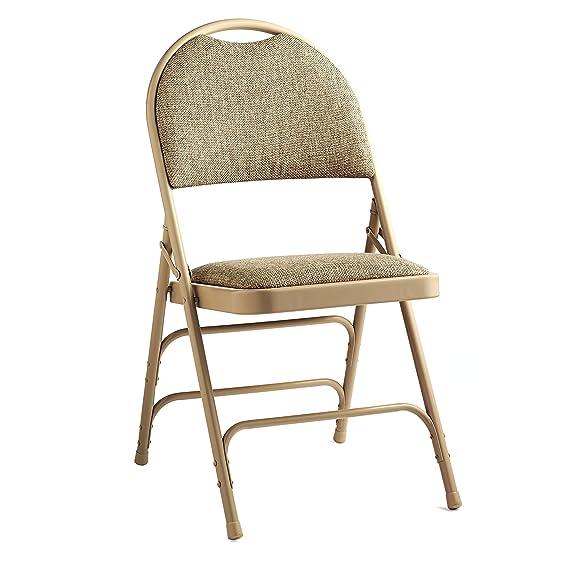 Samsonite Steel U0026 Fabric Folding Chair With Memory Foam (Case/4) Neutral/