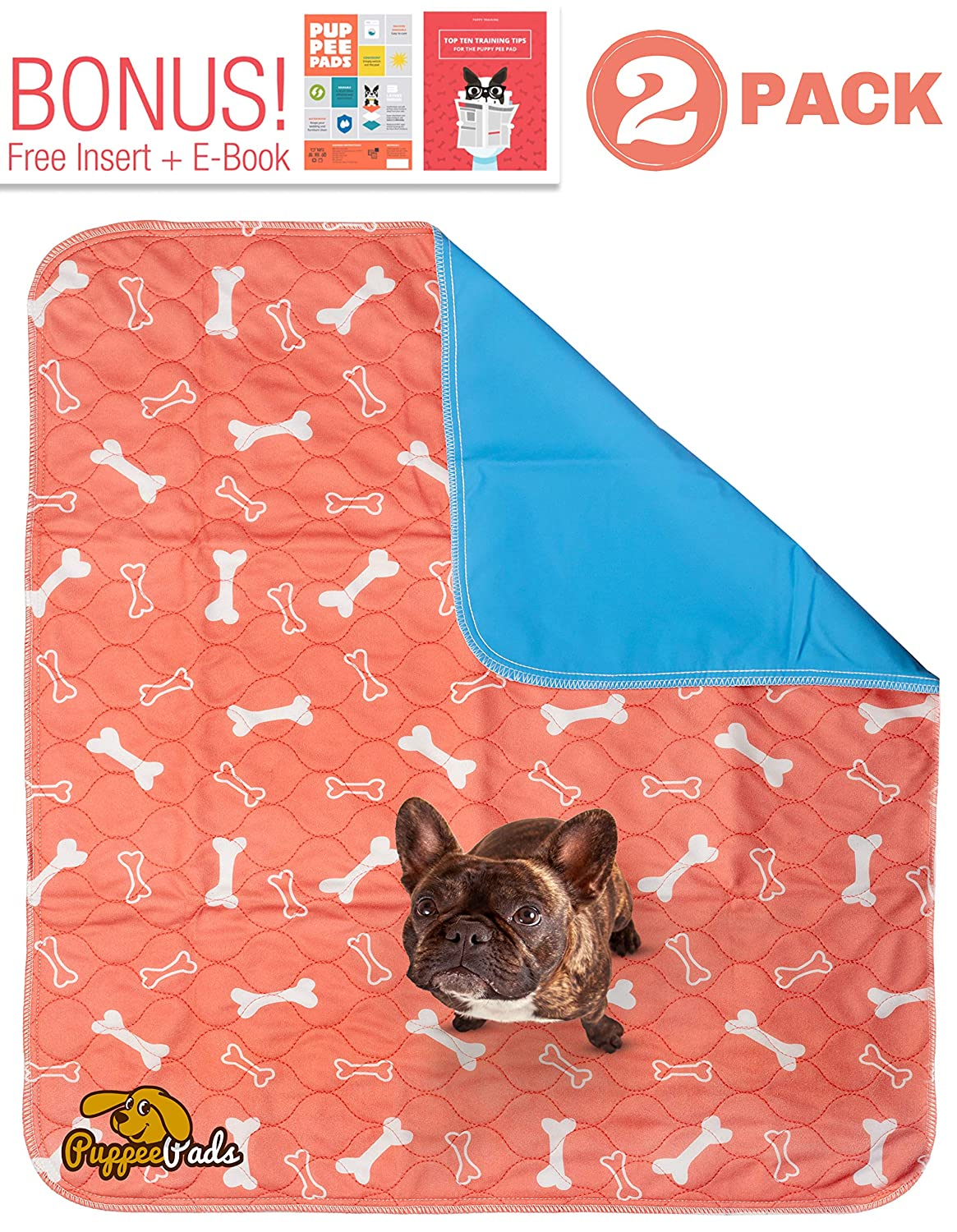Washable Pee Pads for Dogs (2 - Pack) Reusable Dog Wee Wee Pads