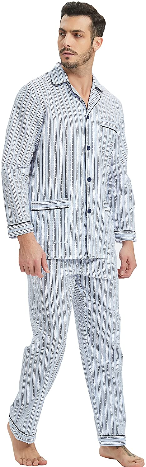 1940s Men's Underwear: Briefs, Boxers, Unions, & Socks GLOBAL Mens Pajamas Set 100% Cotton Woven Drawstring Sleepwear Set with Top and Pants/Bottoms $27.99 AT vintagedancer.com