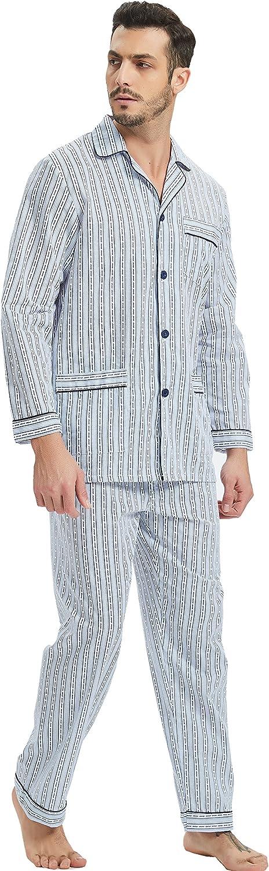 1920s Men's Clothing GLOBAL Mens Pajamas Set 100% Cotton Woven Drawstring Sleepwear Set with Top and Pants/Bottoms  AT vintagedancer.com