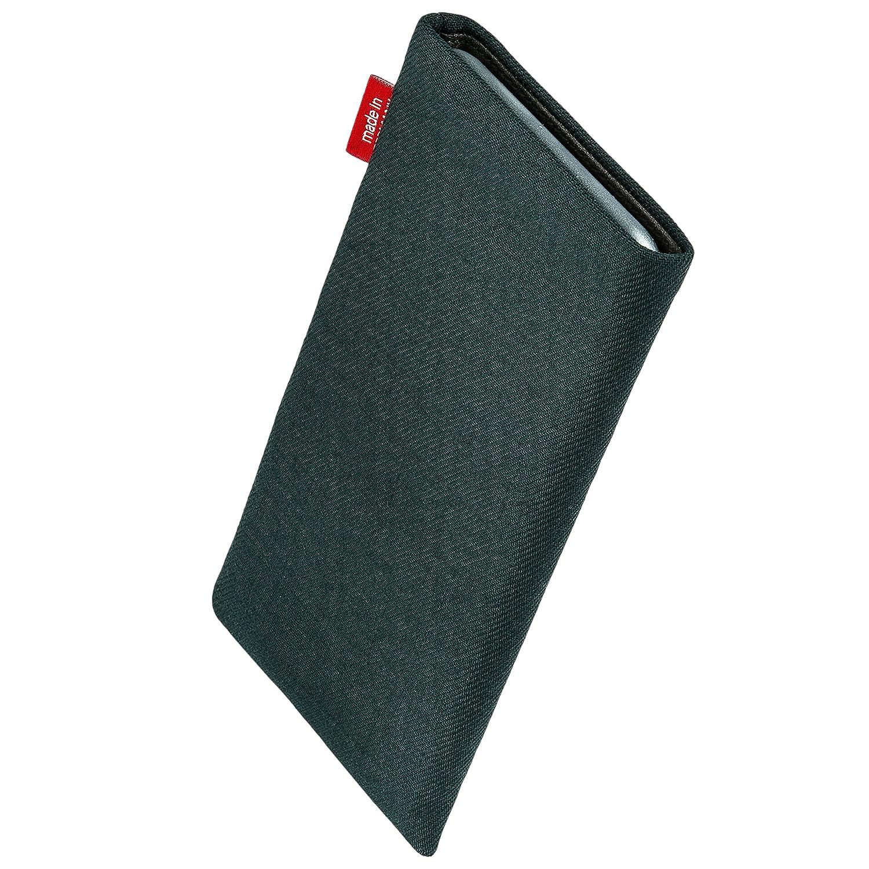fitBAG Rave Negra Funda para m/óvil con Limpieza de Pantalla Funda de Tela Negro con Forro de Microfibra Interior para Samsung Galaxy A40