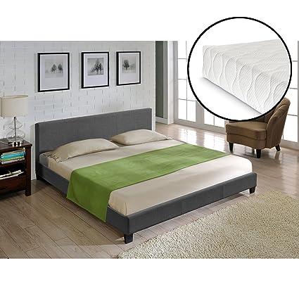 Corium® Cama moderna de tela - cama de matrimonio 140x200cm - gris ...