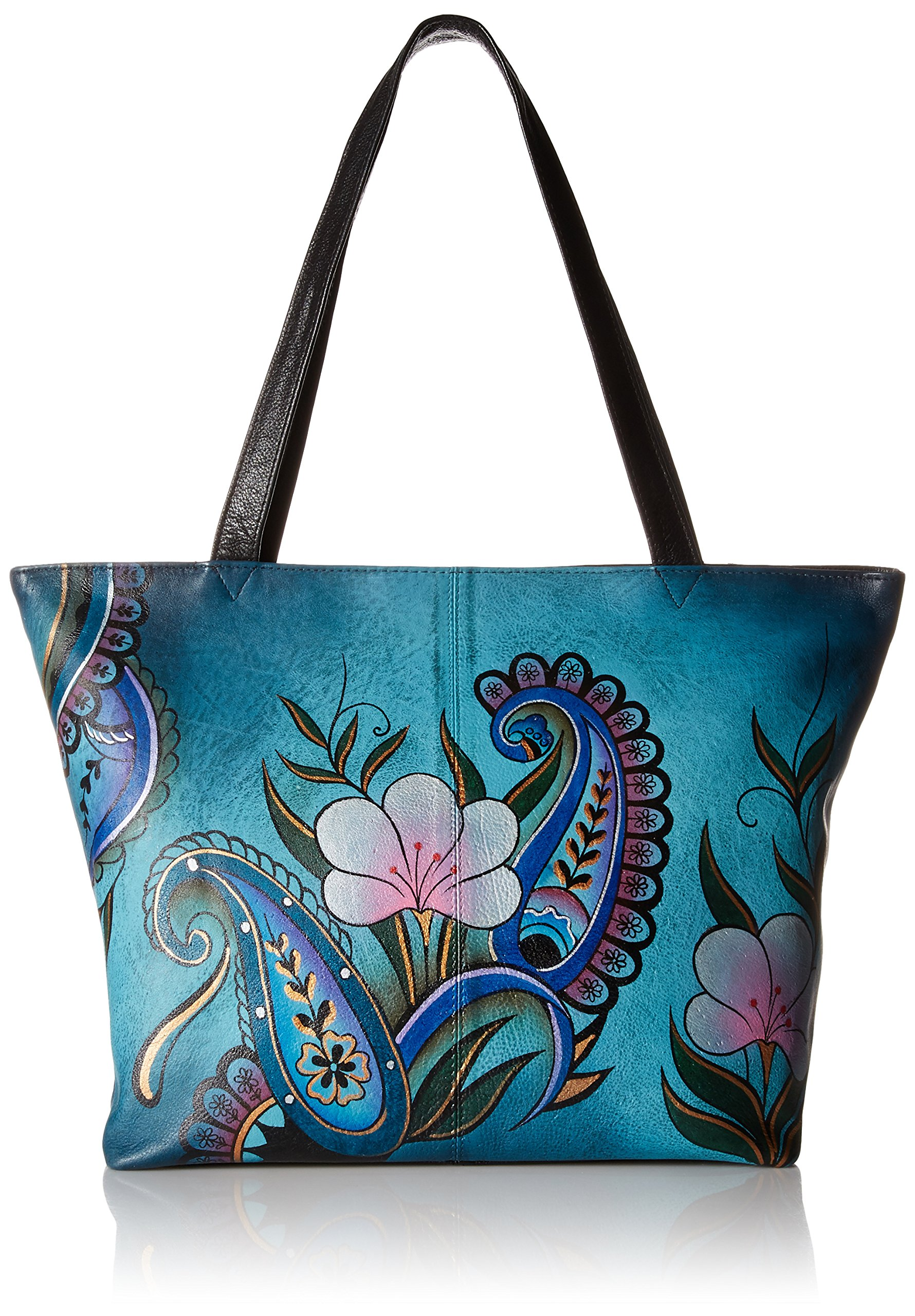 Anuschka Anna Handpainted Leather Large Tote, Denim Paisley Floral
