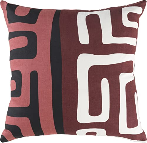 Artistic Weavers ETPA-7241 Ethiopia Morocco Pillow Cover Down Insert 18 X 18 Red Square,Red