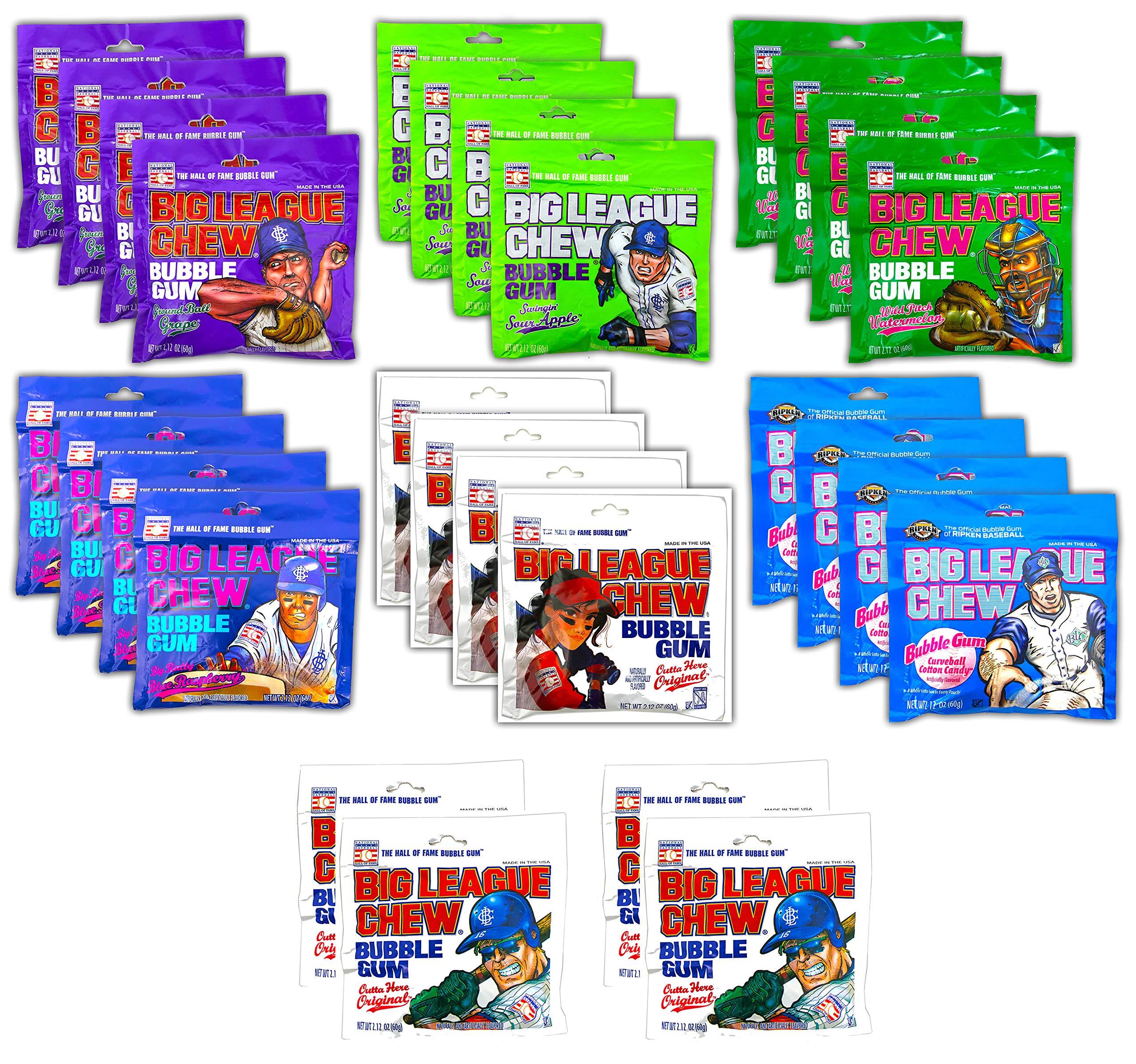 Big League Chew Bubble Gum Variety Pack 7 Flavors - Gum Packs for Softball Teams, Little League Teams, Baseball Teams and Baseball Fans (28 Pack) by Tru Inertia