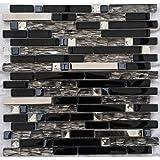 Edelstahl Glasmosaik Matte Schwarz/Silber Diamant-Effekt Mosaik Fliesen M047