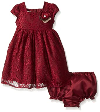 9c84962310809 Laura Ashley London Baby Girls Holiday Lace Party Dress, Burgundy, 12M