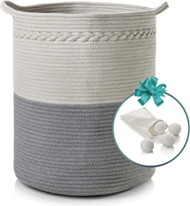 "Cotton Rope Basket with Handles | XL 18"" x 16"" 