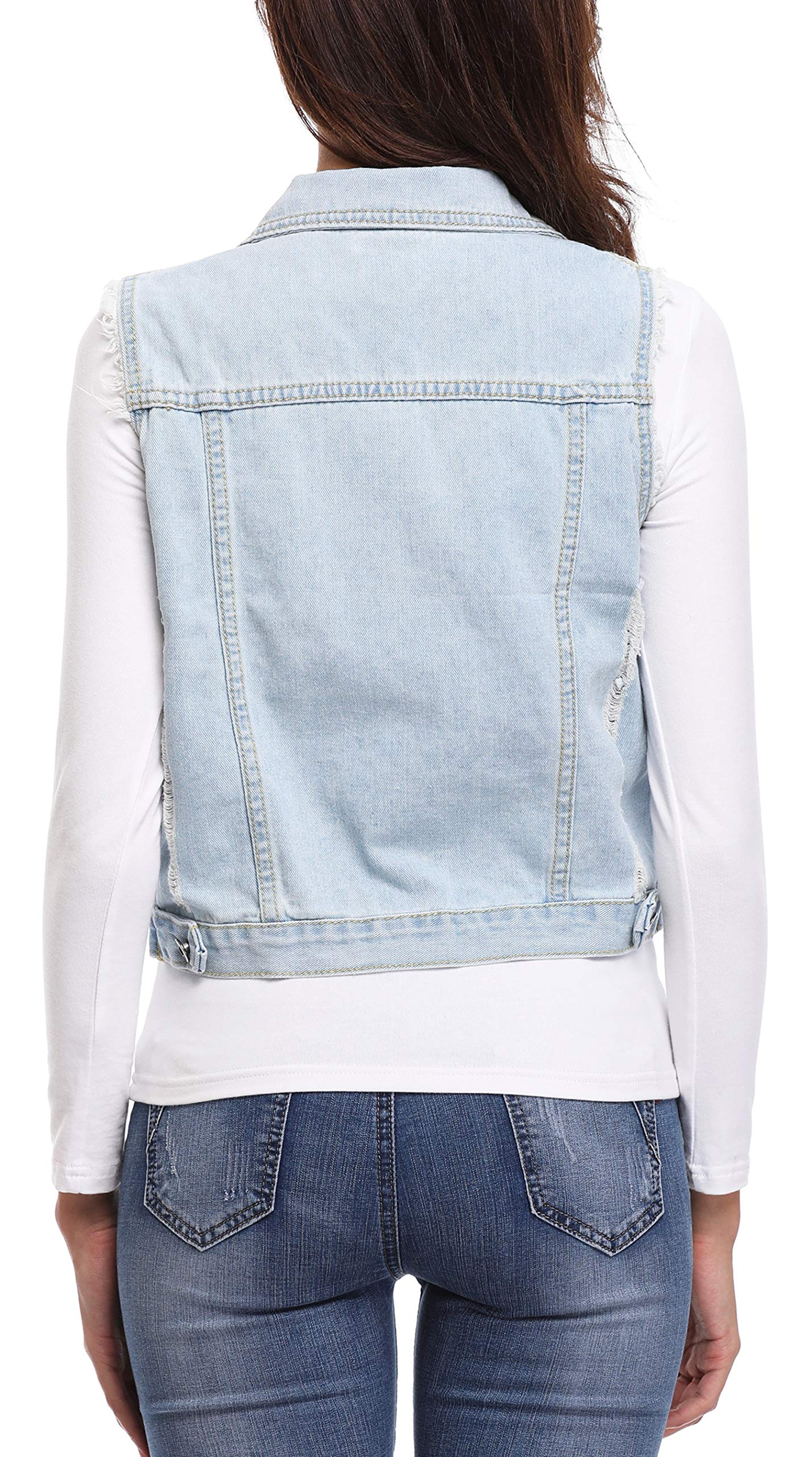 MISS MOLY Women's Sleeveless Denim Jacket Vest Turn Down Collar Buttoned Frayed Washed w 2 Chest Flap Pockets Light Blue XL by MISS MOLY (Image #7)