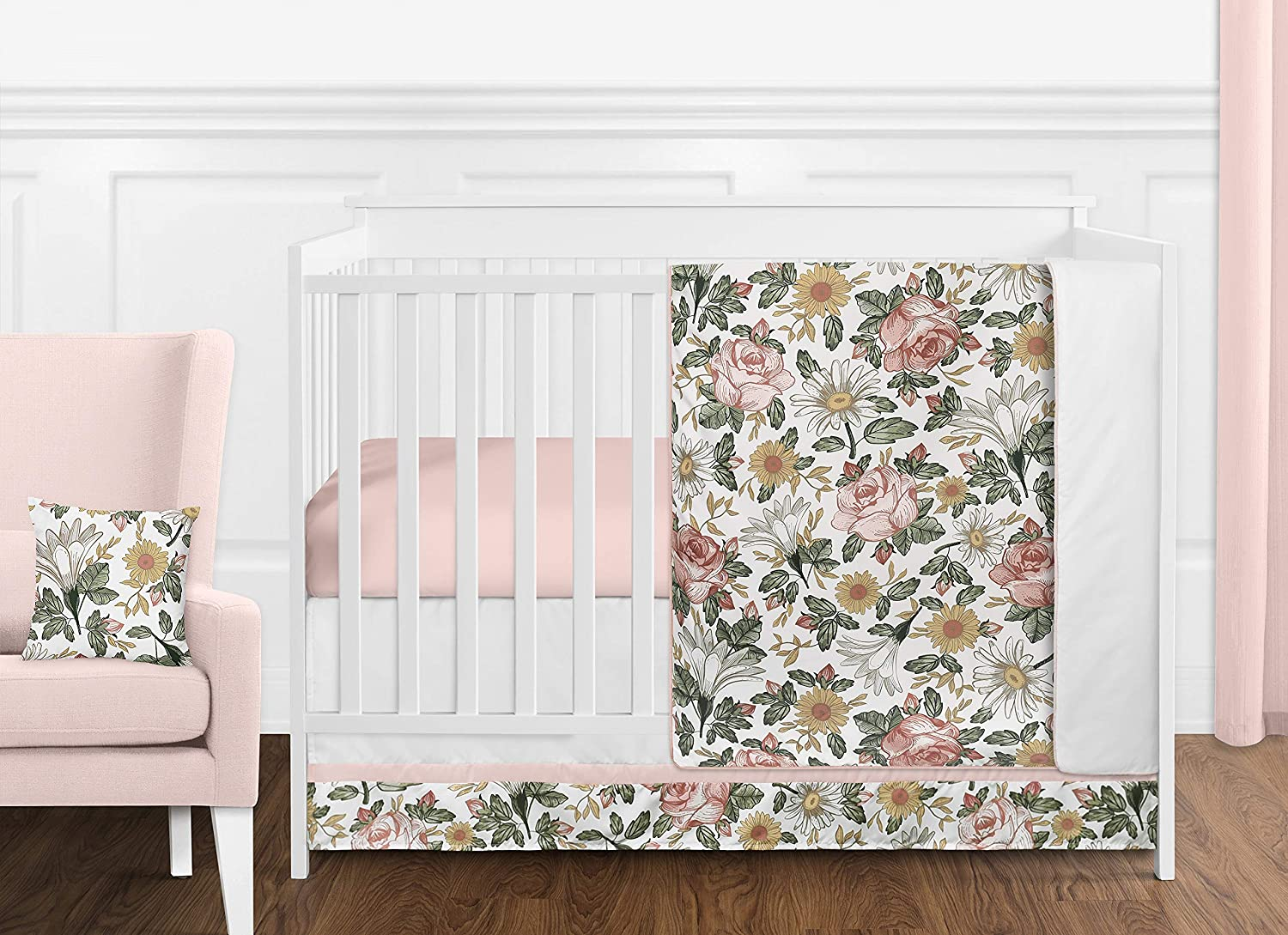 Sweet Jojo Designs Vintage Floral Boho Baby Girl Nursery Crib Bedding Set Without Bumper - 11 Pieces - Blush Pink, Yellow, Green and White Shabby Chic Rose Flower Farmhouse