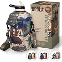 BEOLA 2.2L Half Gallon Water Bottle with STRAW LID and Cooling Sleeve, Tritan BPA Free Large Fitness Sport Bottle Jag…