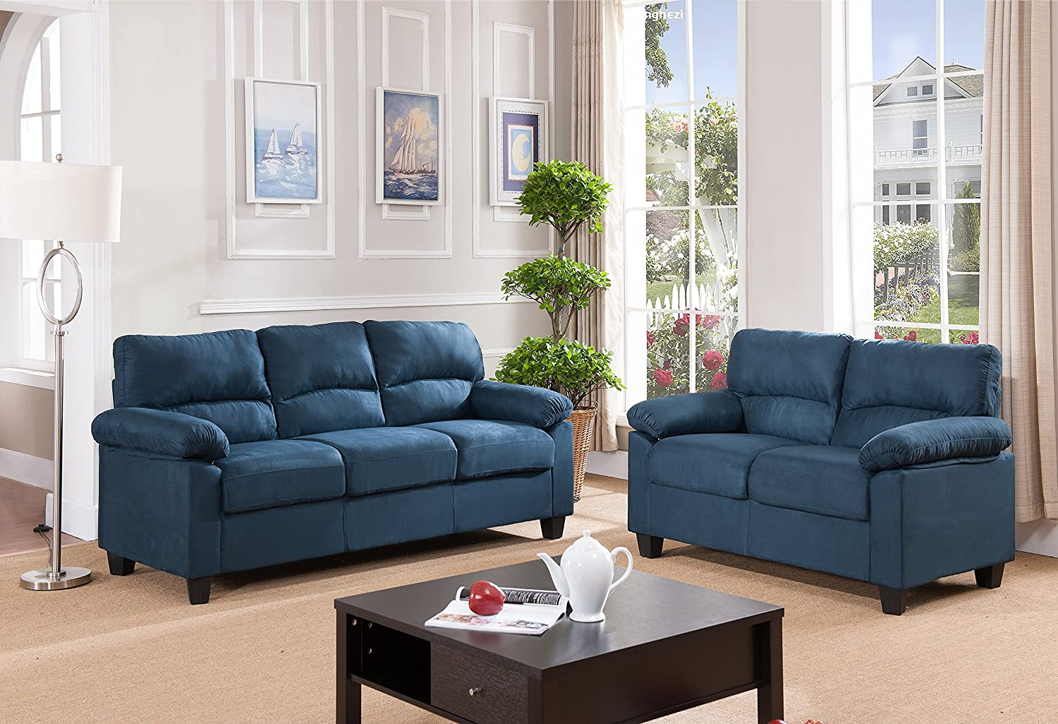 Amazon com kings brand furniture blue microfiber living room set sofa loveseat kitchen dining