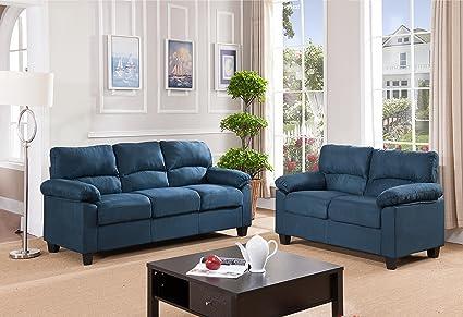 Amazon.com: Kings Brand Furniture Blue Microfiber Living Room Set ...