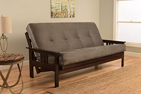 Full Size Excelsior Espresso Futon Frame w/ 8 Inch Innerspring Mattress Sofa Bed Wood Futons (Grey Matt and Frame Only (Full Size))