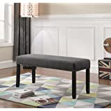 Roundhill Furniture Biony Fabric Dining Bench with Nailhead Trim, Grey