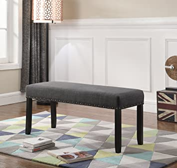 Remarkable Roundhill Furniture Biony Fabric Dining Bench With Nailhead Trim Grey Uwap Interior Chair Design Uwaporg