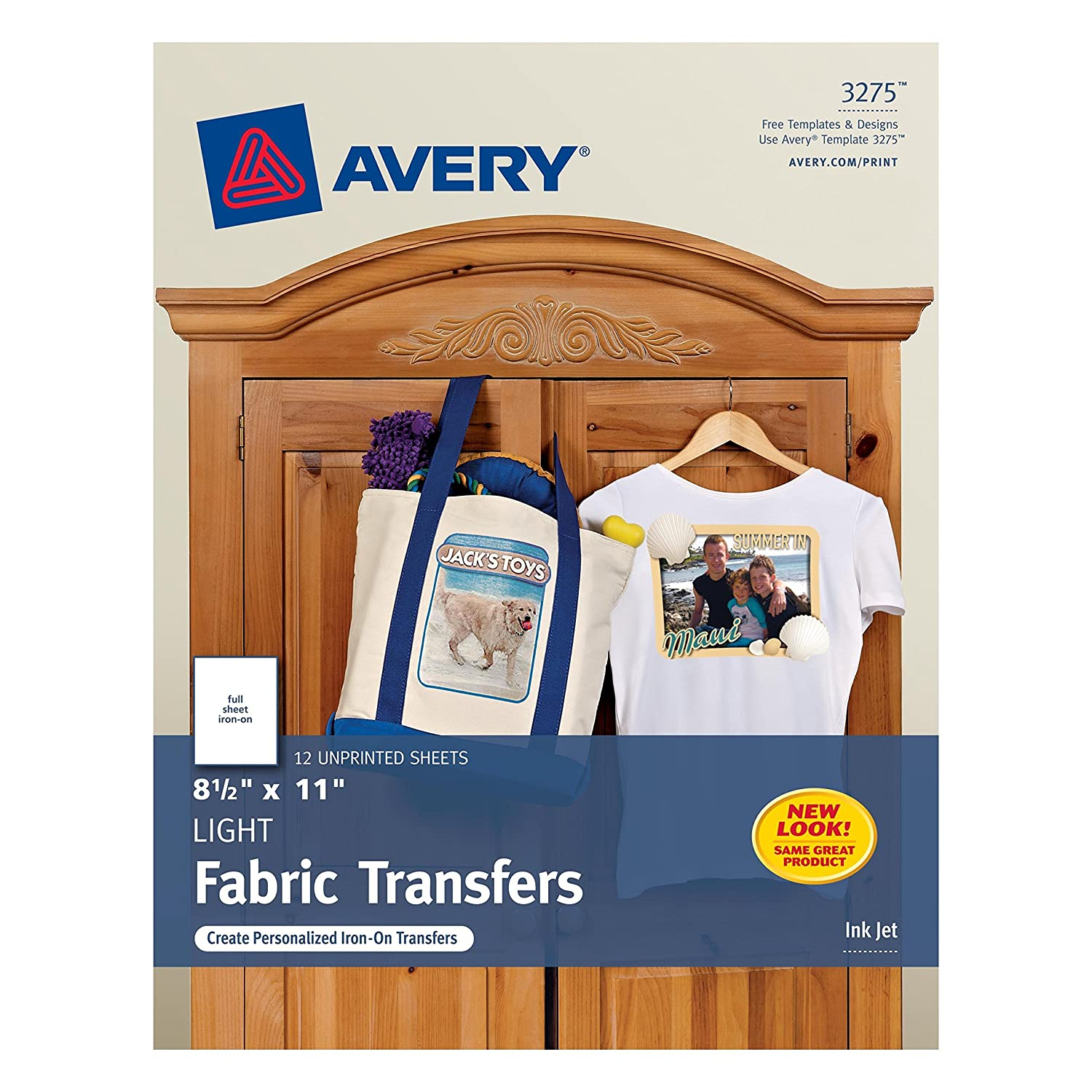 Design t shirt transfer template - Amazon Com Avery T Shirt Transfers For Inkjet Printers 8 5 X 11 Inches Pack Of 12 03275 Fabric Iron On Transfers Office Products