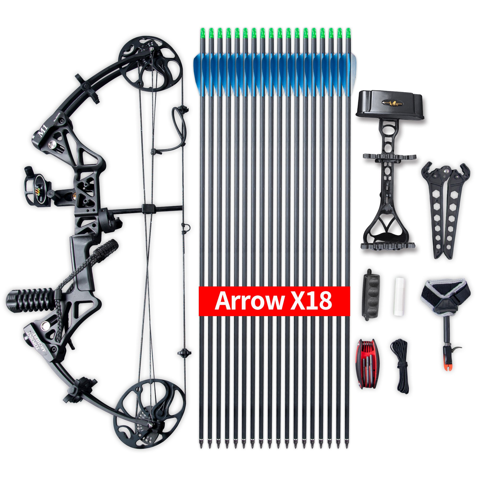 Compound Bow Package,M1,19''-30'' Draw Length,19-70Lbs Draw Weight,320fps IBO Via Express Service Delivered Within 7Days(BLACK)