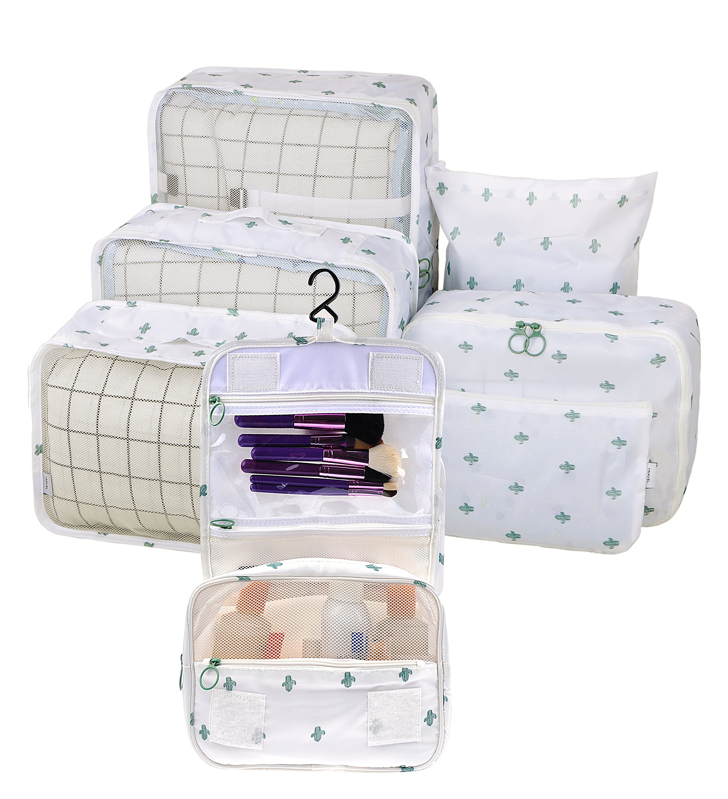 Vercord 7 Set Assorted Packing Organizers, Travel Luggage Mesh Packing Cubes & Underwears Packing Cube & Cosmetics Case & Shoes Makeup Bags, Cactus