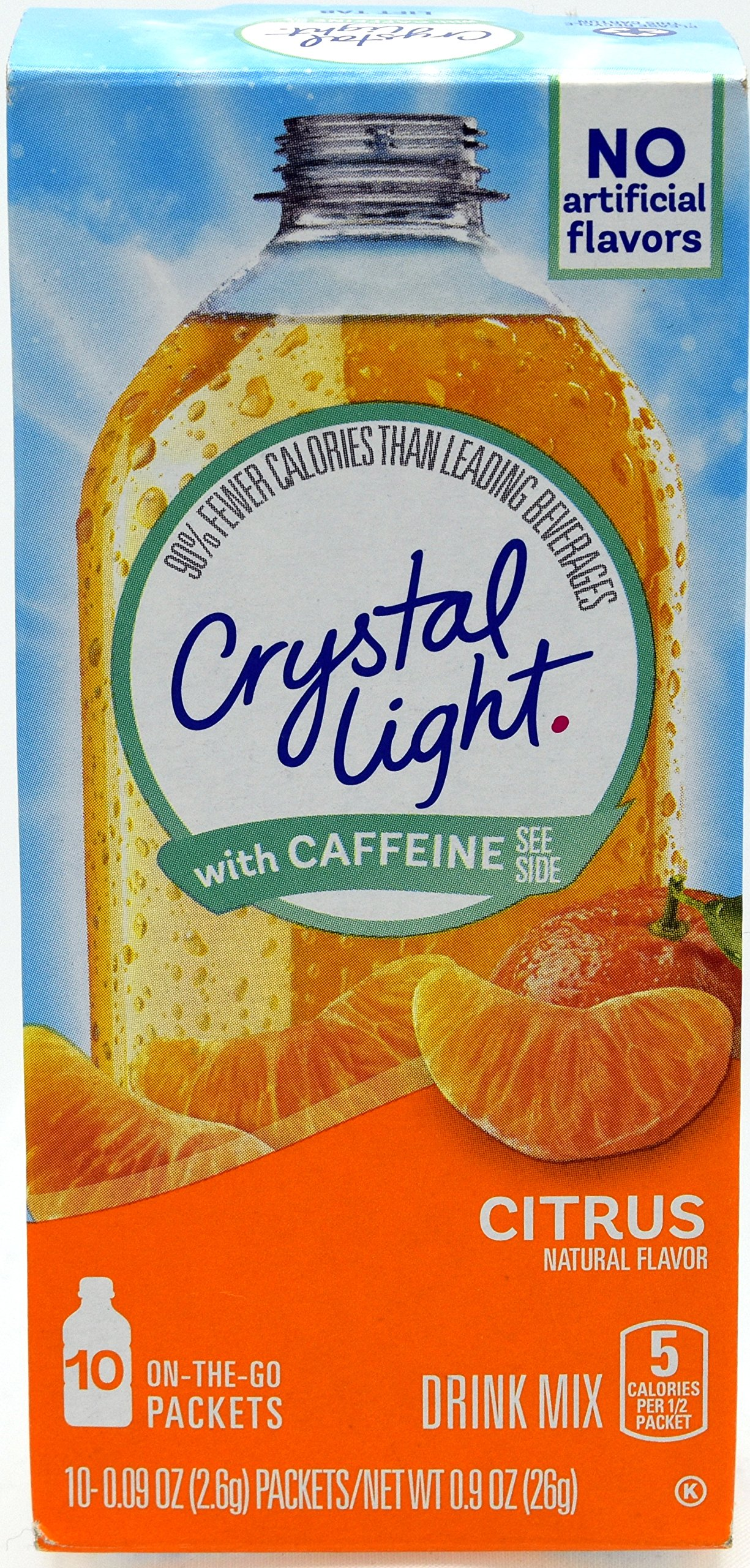Crystal Light On The Go Citrus With Caffeine Drink Mix, 10-Packet Box (Pack of 25)