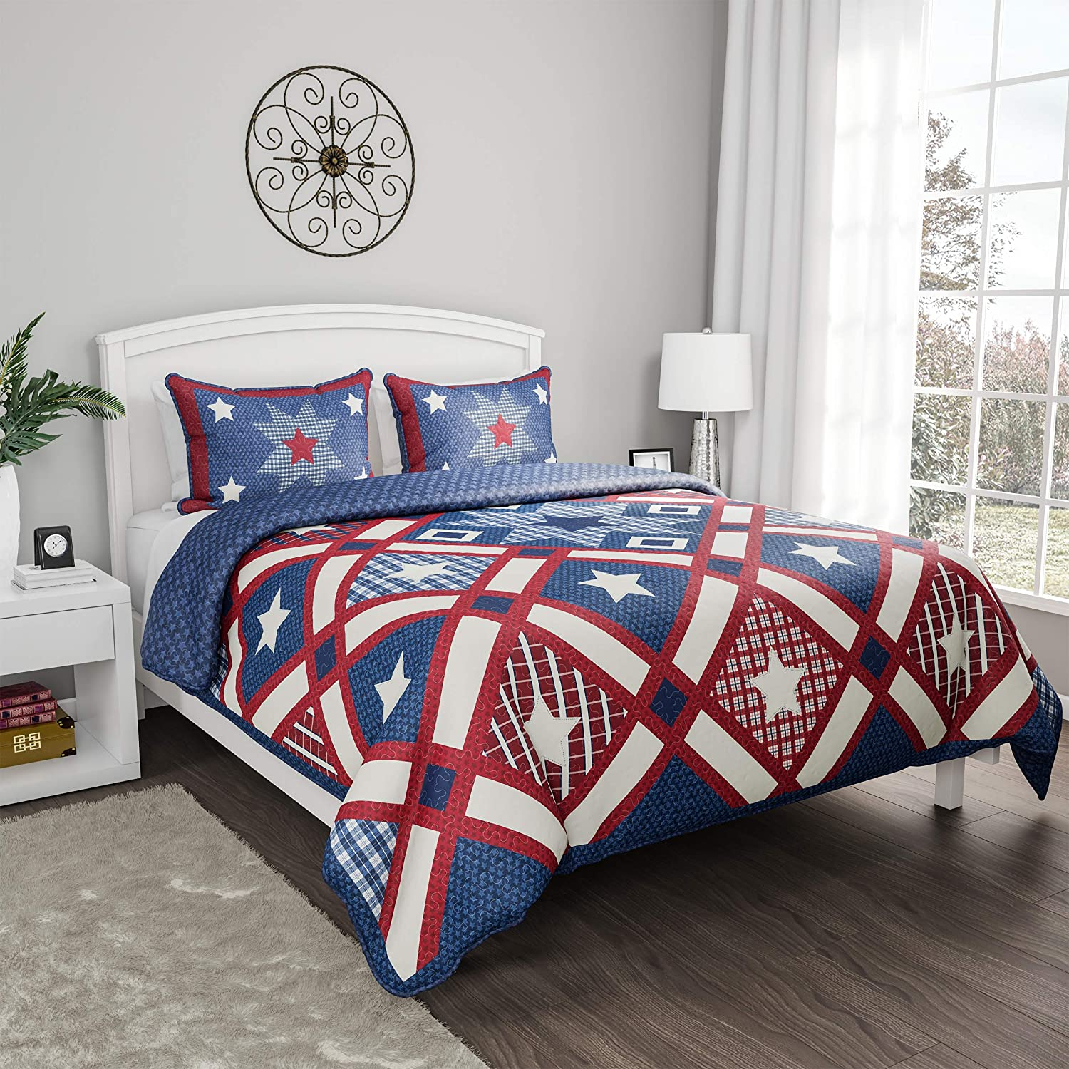 F//Q Hypoallergenic Polyester Microfiber Homestead Patriotic Americana Print All-Season Blanket with Sham , Bedford Home 3-Piece Quilt and Bedding Set