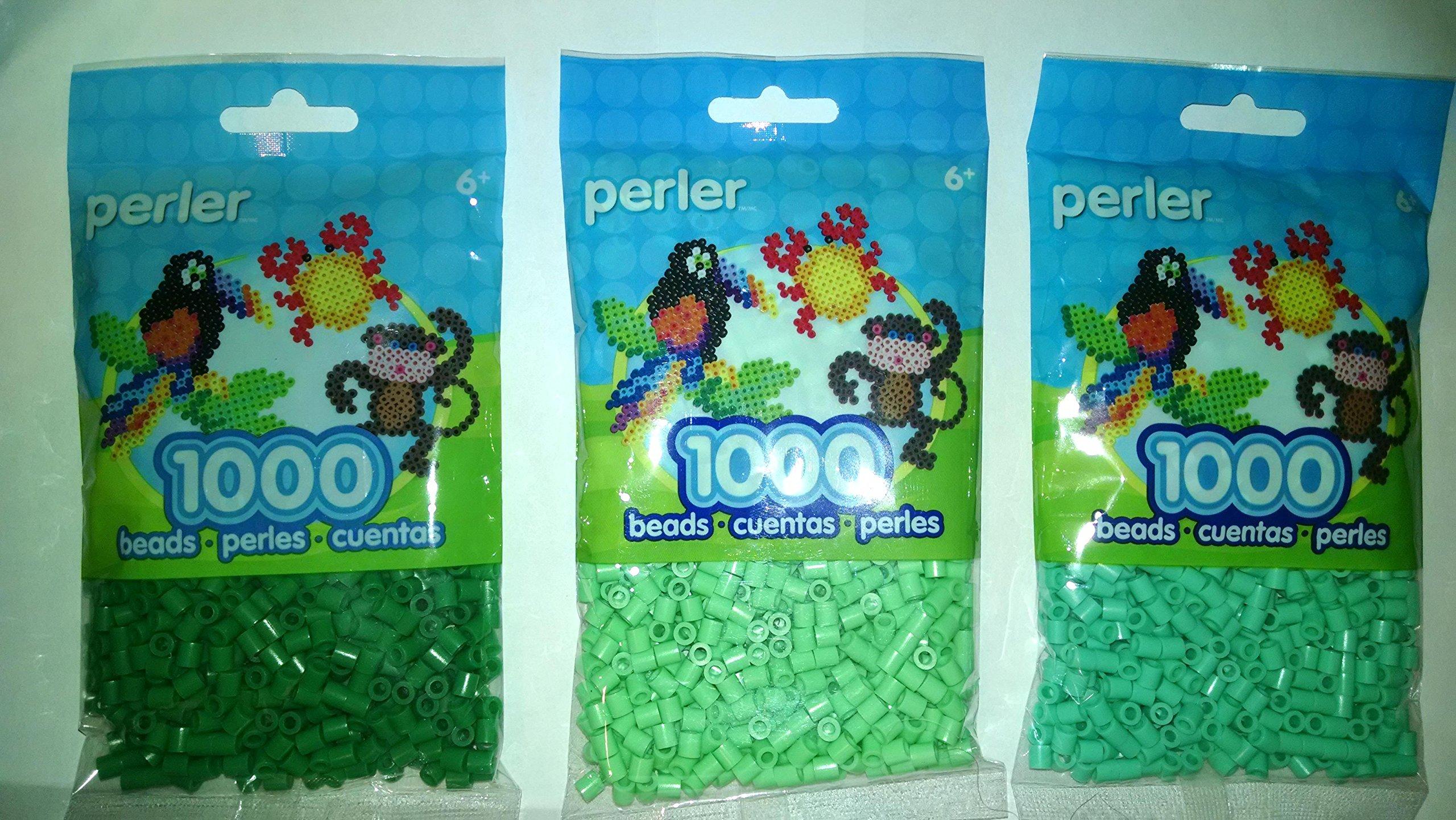 Perler Bead Bag, Group (Dark Green, Light Green, Pastel Green)