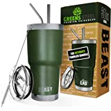 BEAST 30 oz Tumbler Stainless Steel Insulated Coffee Cup with Lid, 2 Straws, Brush & Gift Box by Greens Steel (30 oz, Army Green)