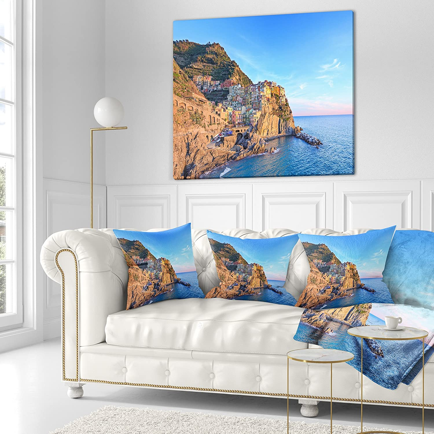in Designart CU11387-16-16 Manarola Village Cinque Terre Italy Seashore Cushion Cover for Living Room Sofa Throw Pillow 16 in x 16 in Insert Printed On Both Side