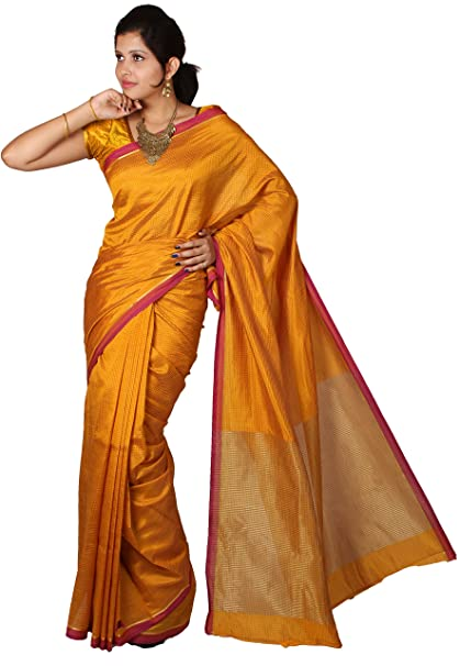 Mimosa Women Tassar Silk Saree with Blouse (3026-2013-Tuss-Gold, Gold) Sarees at amazon