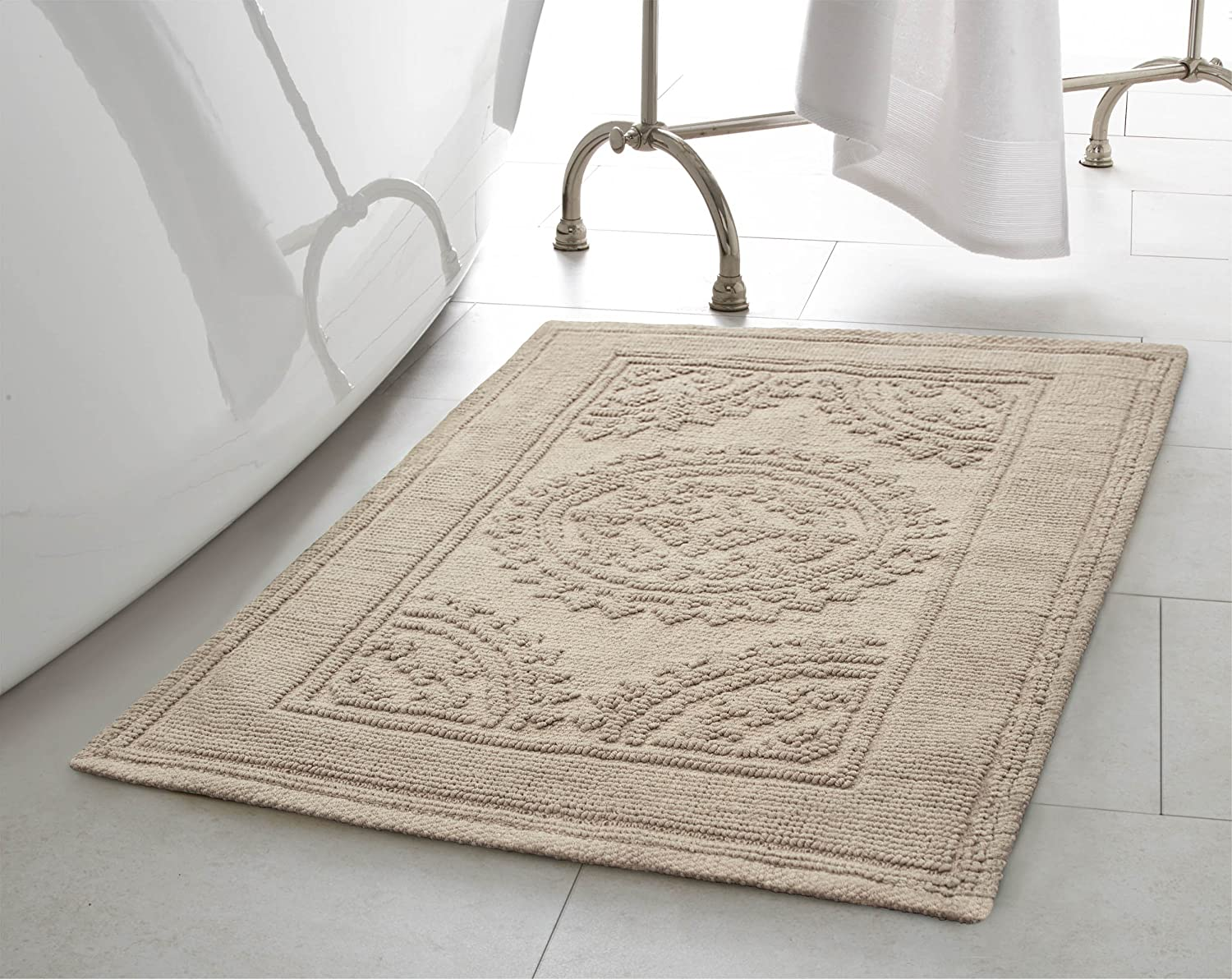 Jean Pierre New York Cotton StoneWash Medallion 17x24/20x32 in. 2-Piece Bath Rug Set, Taupe Gray