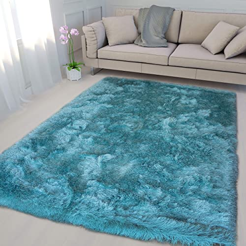 Turquoise Blue Color 5 x7 Feet Large Solid Plush Furry Fuzzy Shag Shaggy Modern Contemporary Decorative Designer Bedroom Living Room Area Rug Carpet Rug Polyester Made Canvas Backing Hand Tufted