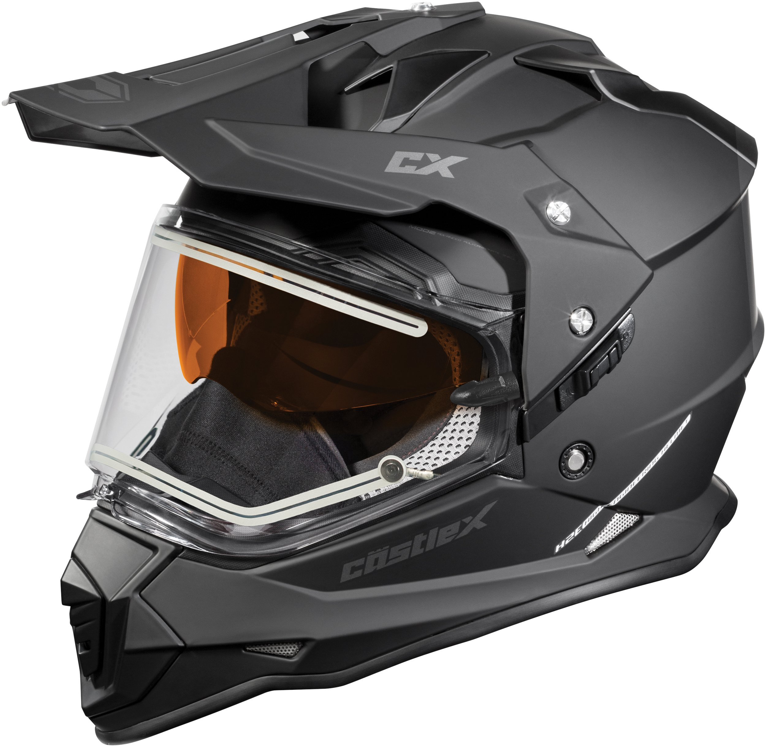 Castle X Mode Dual-Sport SV Electric Snowmobile Helmet (2XL, Matte Black)
