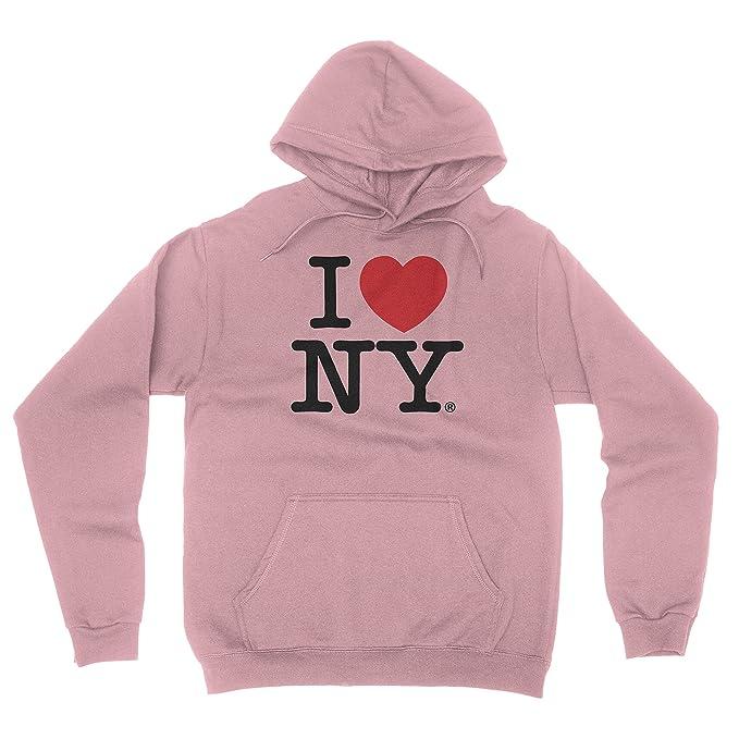 I Love NY New York Hoodie Screen Print Heart Sweatshirt Light Pink