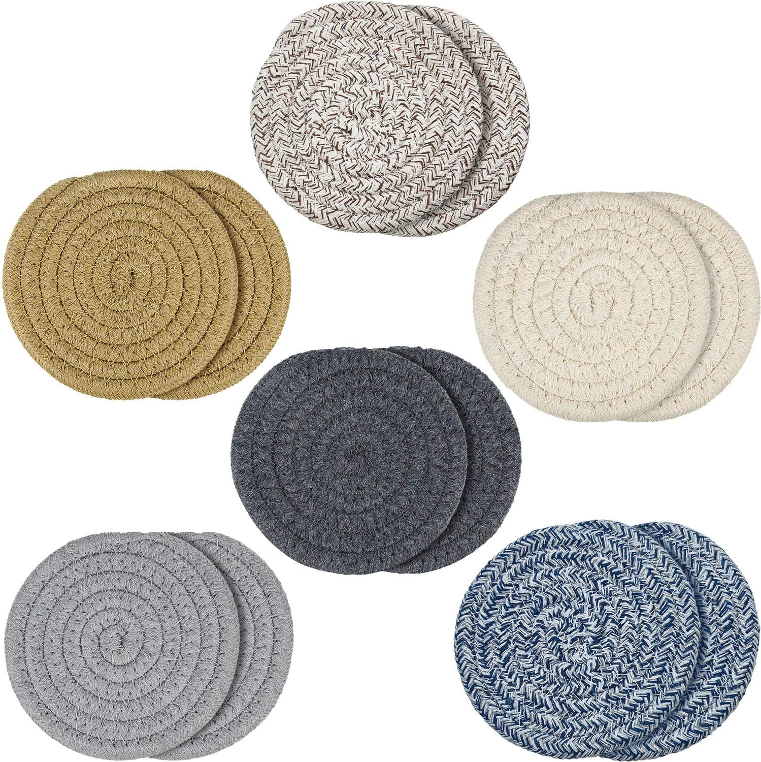 12 Pieces Braided Cup Coasters Cotton Round Woven Coasters Drink Absorbent Woven Coasters Hot Pads Mats for Drink Home Kitchen (Light Color)