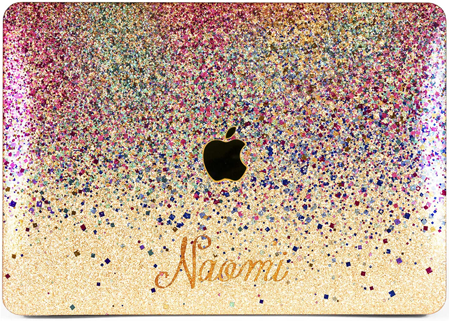 """Cavka Hard Glitter Case for Apple MacBook Pro 13"""" 2019 Retina 15"""" Mac Air 11"""" Mac 12"""" Bling Personalized Pink Rose Gold Name Custom Print Blue Sparkly Cover Glossy Design Confetti Silver Cute Shiny"""
