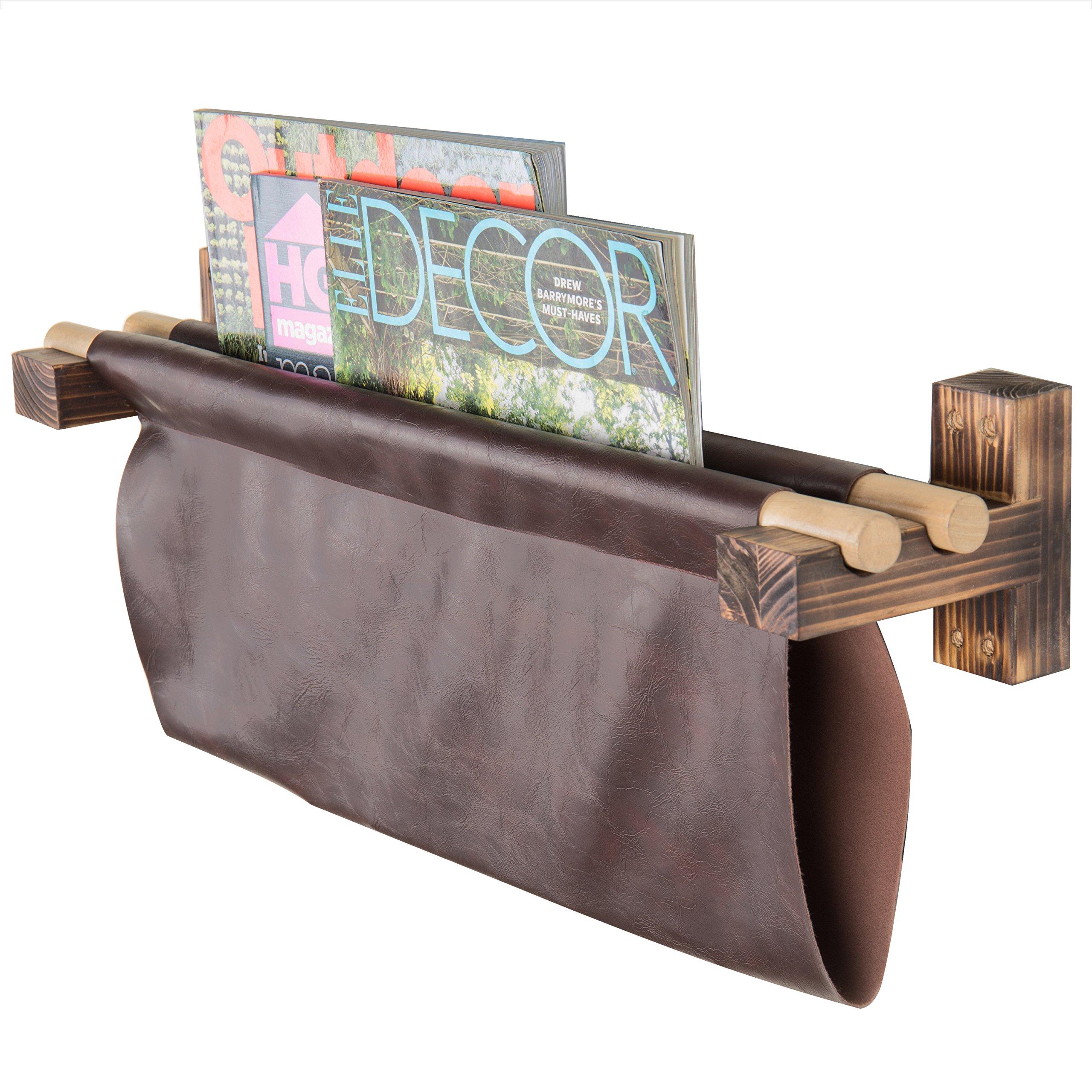 MyGift Wall-Mounted Faux Leather & Wood Sling Magazine Rack