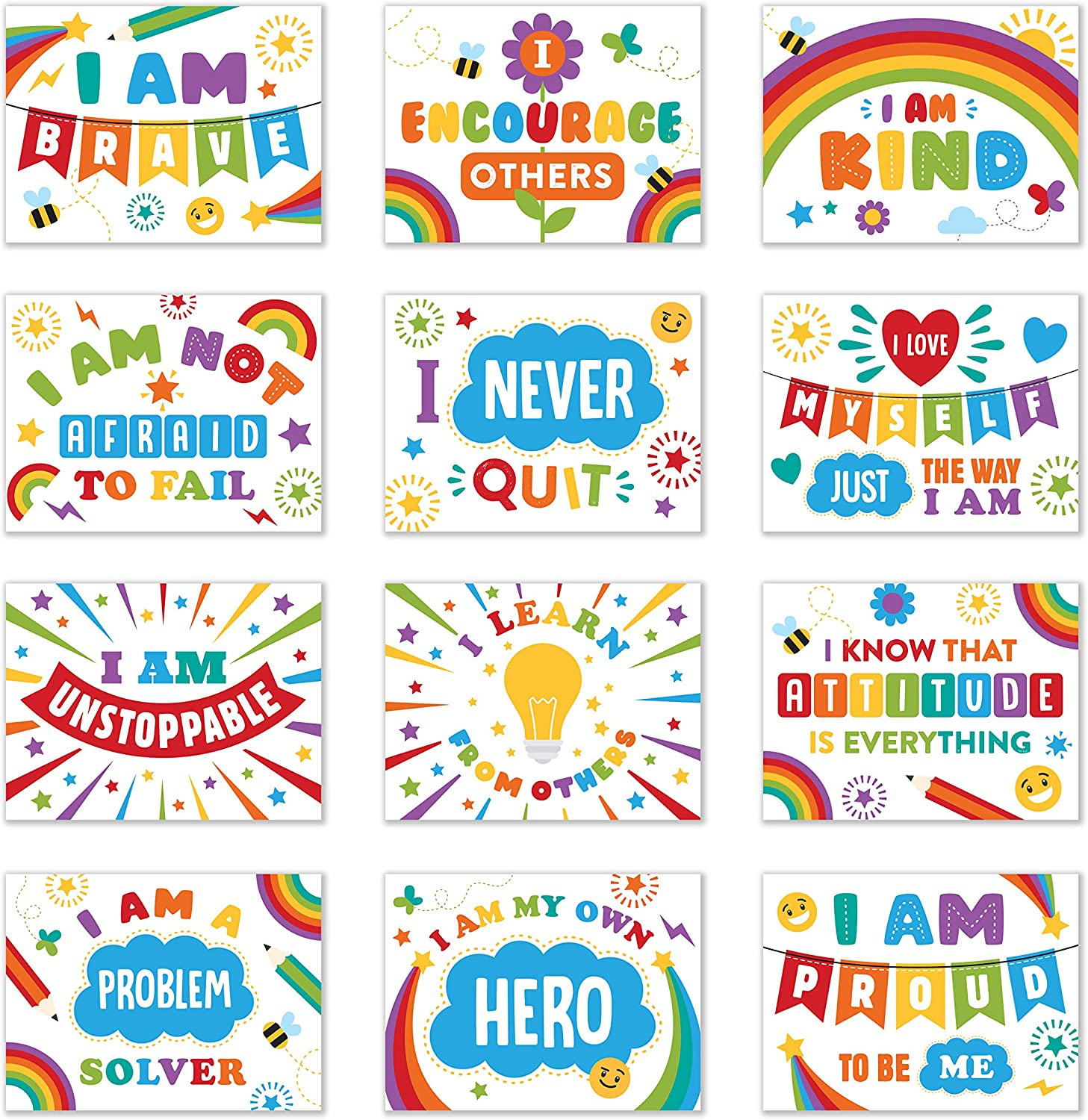 Laminated Classroom and Bulletin Board Decoration Set - 12 Positive Affirmation Poster Set