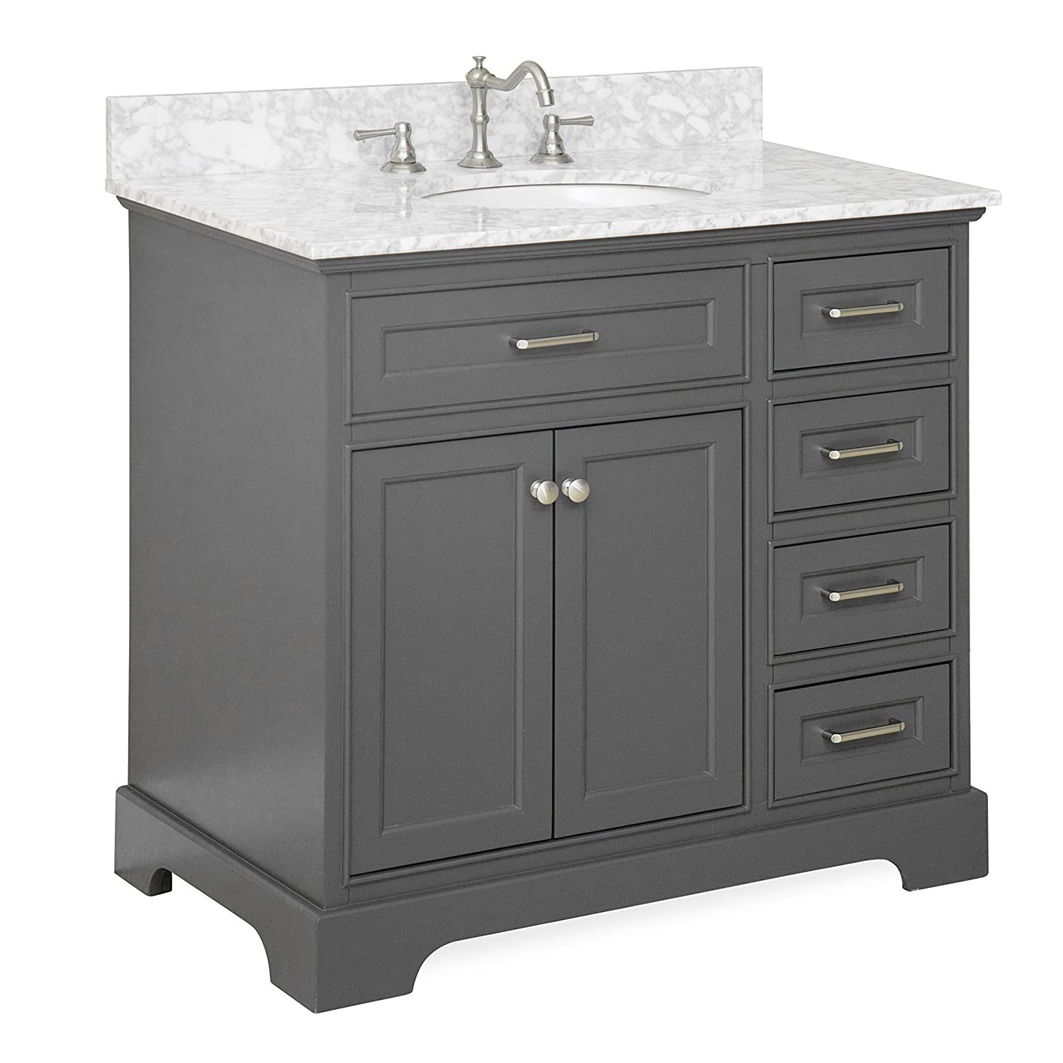 "Aria 36"" Bathroom Vanity Carrara Charcoal Gray Amazon"