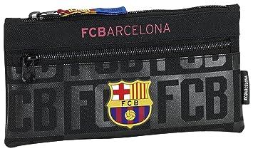 Safta Estuche Doble Cremallera FCBarcelona Black Oficial Escolar 230x110mm