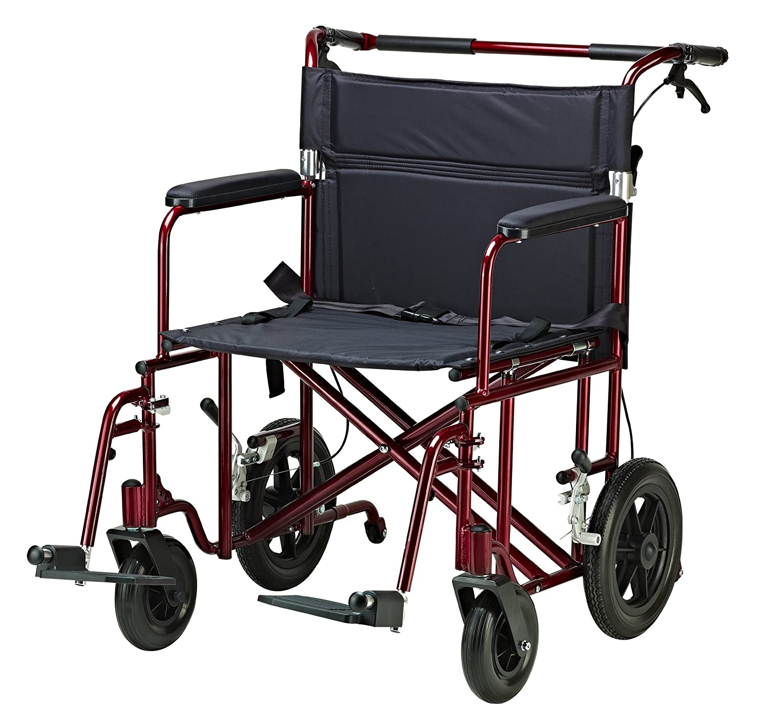 Amazon Drive Medical Bariatric Transport Chair With 12 Inches Rear Flat Free Wheels Red 22 Health Personal Care